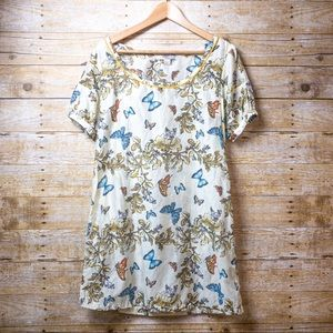 Love 21 Dress Butterfly Floral Cream multicolor